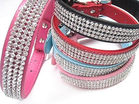 Beaded Rhinestone Fancy Dog Collars For Large Dogs