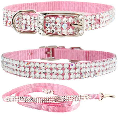 Cute Pink Fancy Dog Collars For Small Dogs