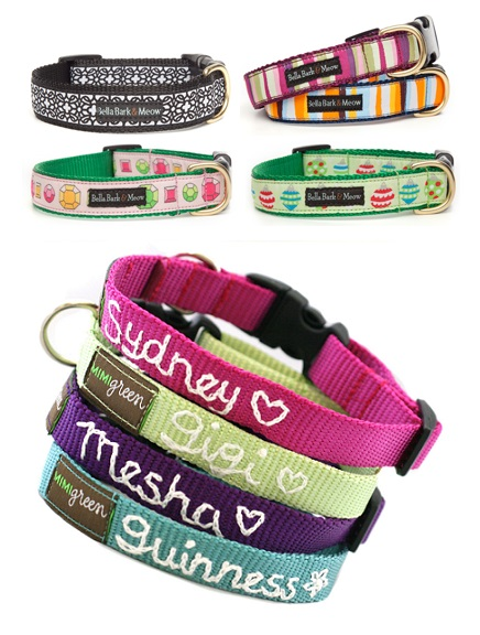 Stylish and Colorful Custom Embroidered Dog Collars