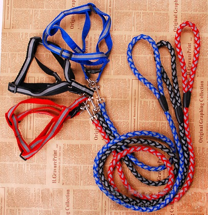Polyester Reflective Dog Collars with Leashes